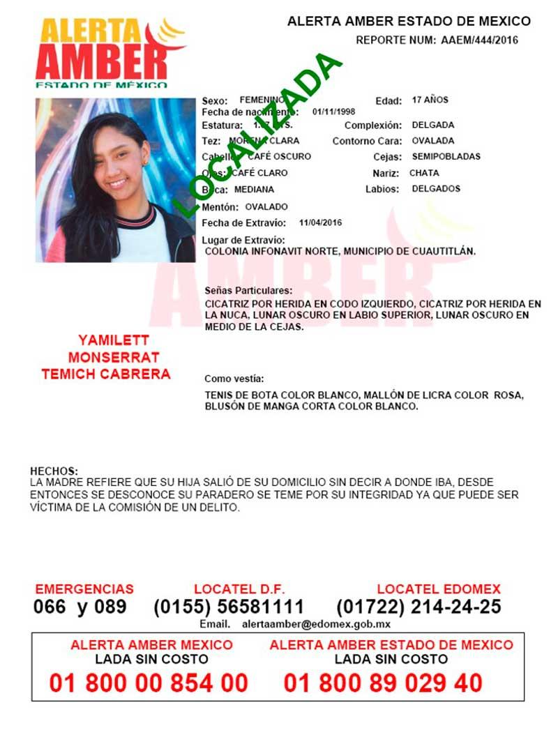 Localizan adolescente reportada como desaparecida