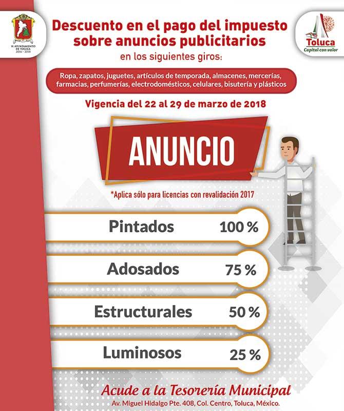 Invitan a comerciantes de Toluca a aprovechar descuentos por publicidad exterior