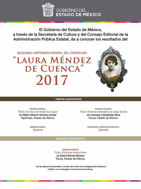 Dan a conocer ganadores del certamen de literatura Laura Méndez de Cuenca