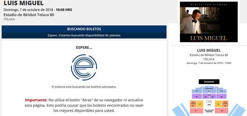Se satura página en preventa de boletos para Luis Miguel