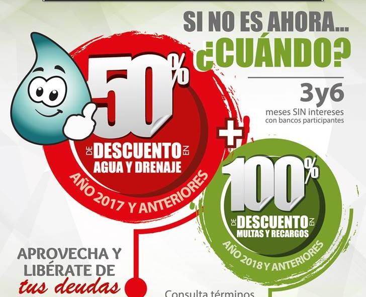 Bonificación del  50% en el pago de agua potable, drenaje y alcantarillado 2017 y anteriores en Toluca