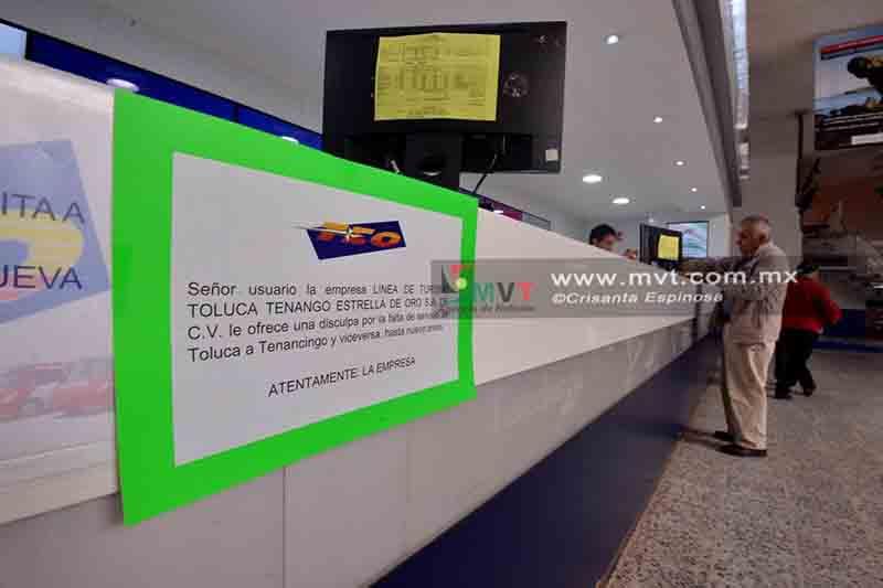 Suspenden corridas de autobuses en Terminal de Toluca
