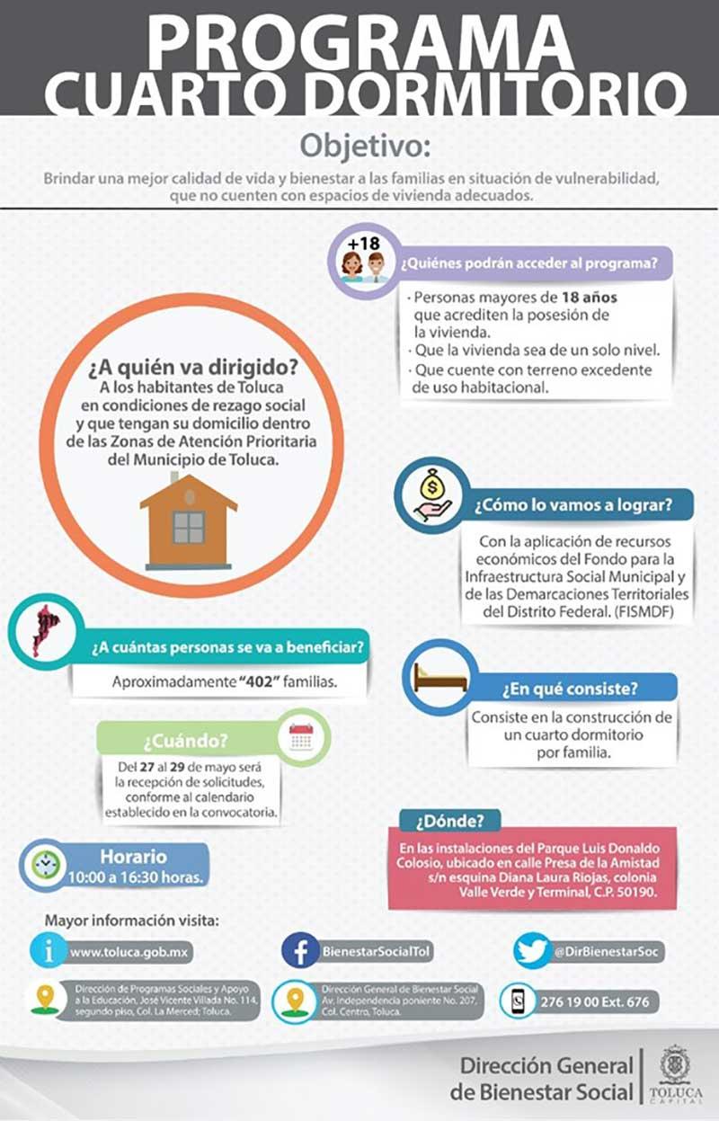 """Para mejorar la calidad de vida familiar Toluca abre programa """"cuarto dormitorio"""""""