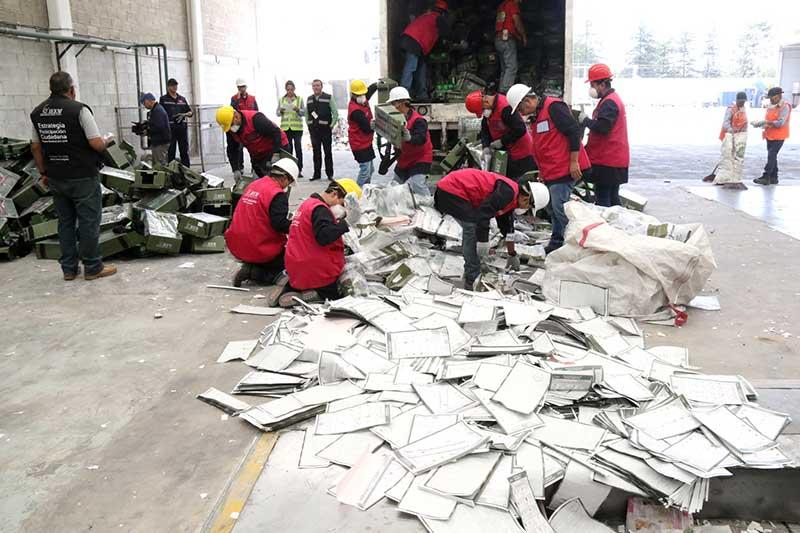 Realiza IEEM la destrucción y reciclaje de documentación electoral
