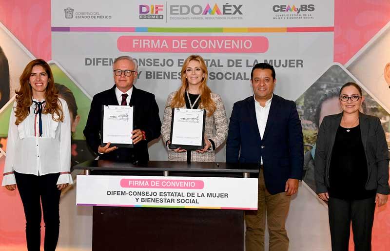 Signan DIFEM y CEMyBS convenio en beneficio de mujeres mexiquenses