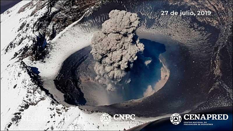 En sobrevuelo Cenapred corrobora destrucción del domo 83 en el Popocatépetl