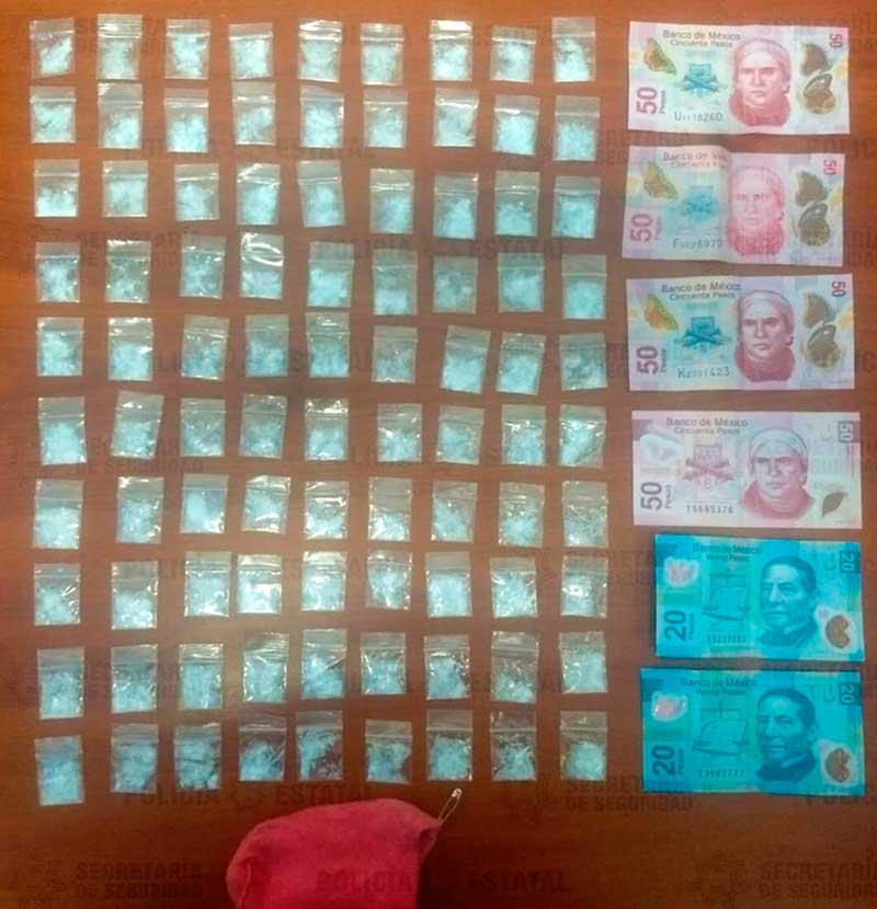 Policías detienen a sujeto con 90 dosis de cocaína en Tenancingo