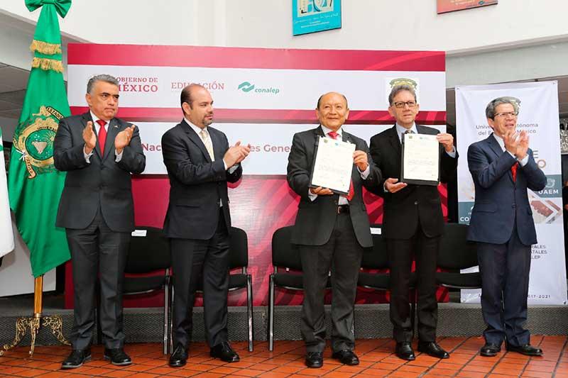 La UAEM y Conalep firman convenio para sumar sus activos a favor de la juventud mexicana