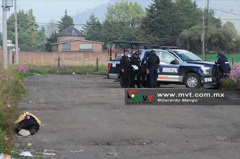 Amanece un hombre muerto a balazos en Zinacantepec