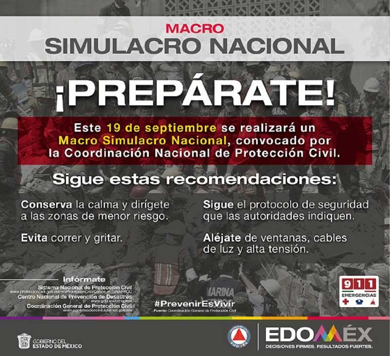 En macro simulacro del 19S de mañana se activarán alertas sísmicas en municipios del Edoméx