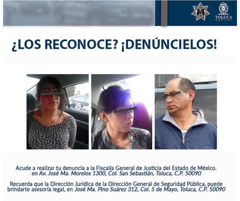 Capturan a dos mujeres y un hombre que daban cristalazos en Toluca