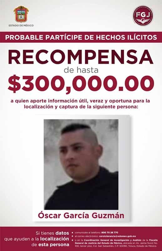 Recompensa de 300 mil pesos por información para detener a multi-homicida de Toluca