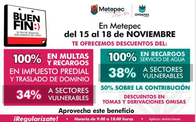 Ofrece Metepec descuentos en predial y agua durante el Buen Fin