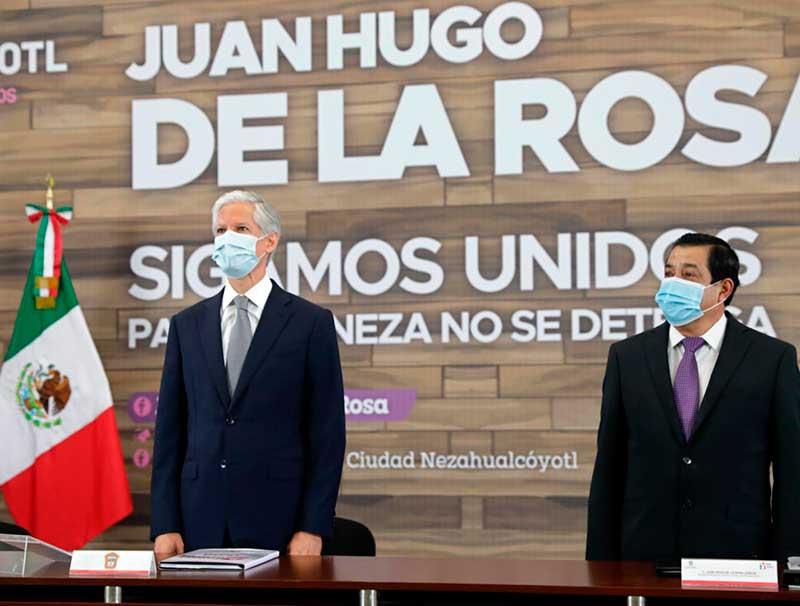 Asiste gobernador Del Mazo al informe de Juan Hugo de la Rosa en Nezahualcoyotl