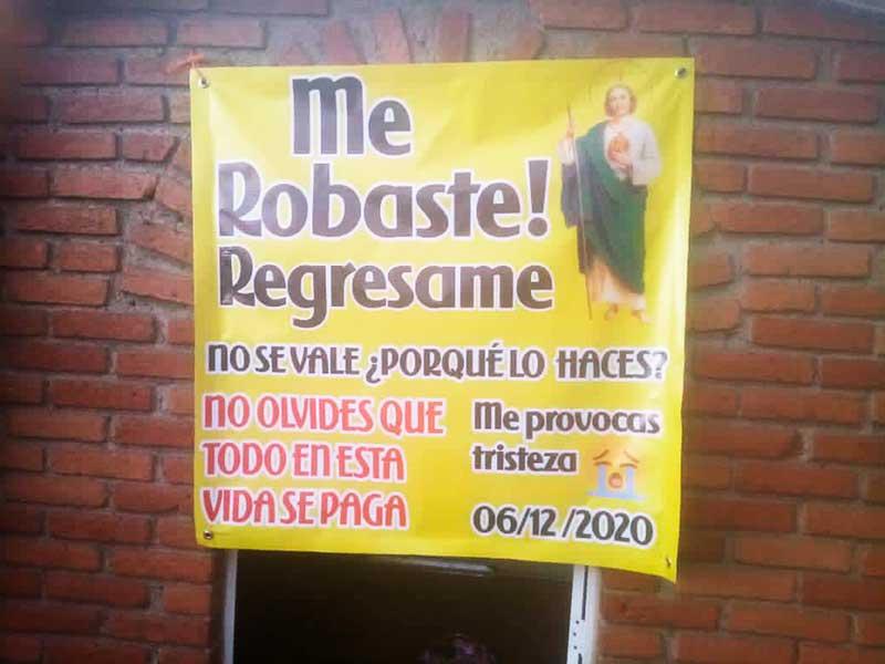 Se roban imagen de San Judas en Ixtlahuaca, piden que la regresen