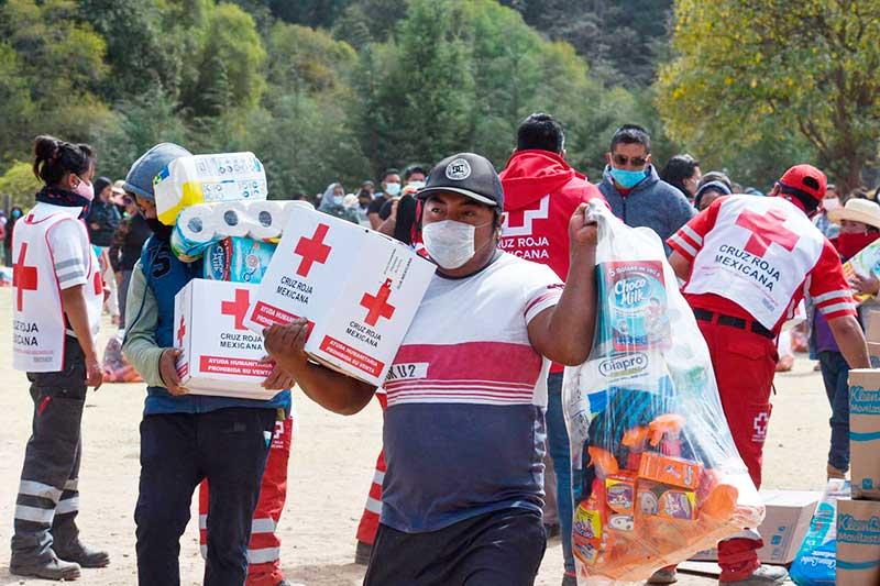 Entrega Cruz Roja Mexicana ayuda humanitaria a 400 familias del Edomex