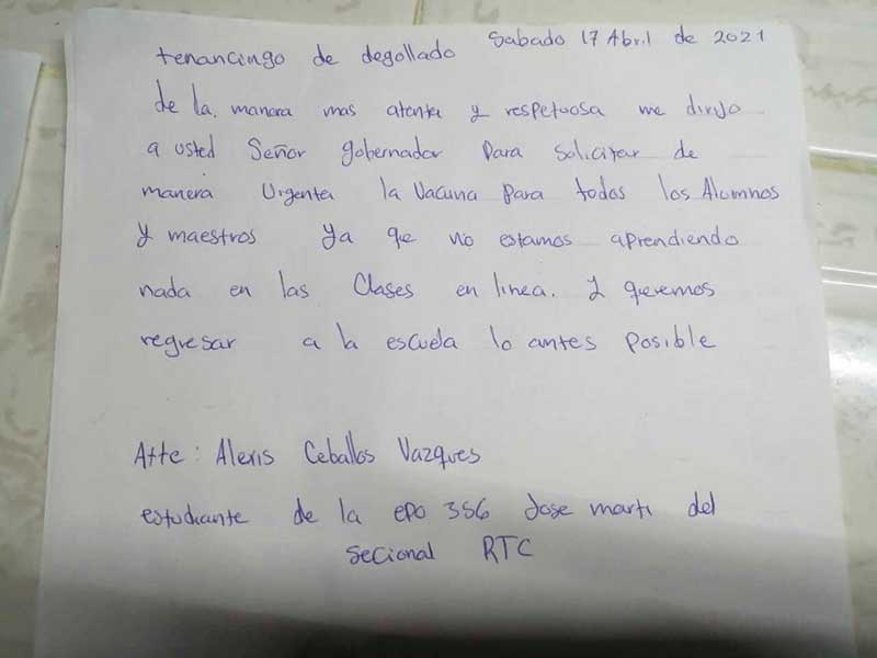 Estudiantes mandan cartas al gobierno federal pidiendo vacunarse antes de volver a la escuela