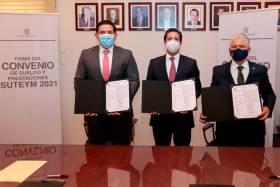 SUTEyM y Secretaría de Finanzas firman convenio de incremento de sueldos y prestaciones