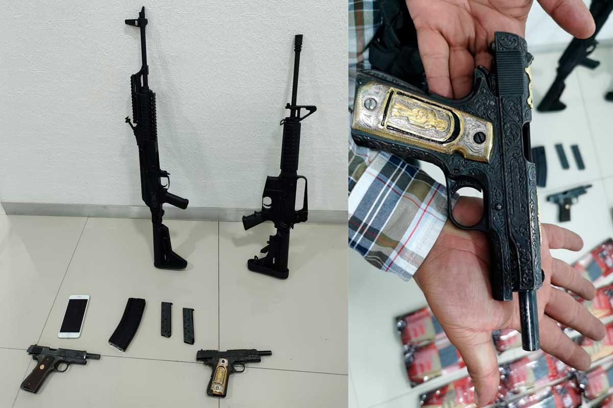 Agentes catean casa y encuentran armas largas + 65 cargadores para fusil Ak-47