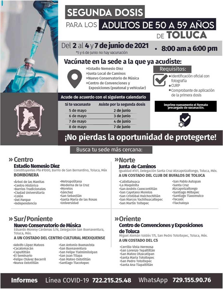 El ayuntamiento de Toluca invita a la Jornada de Vacunación contra el Covid-19