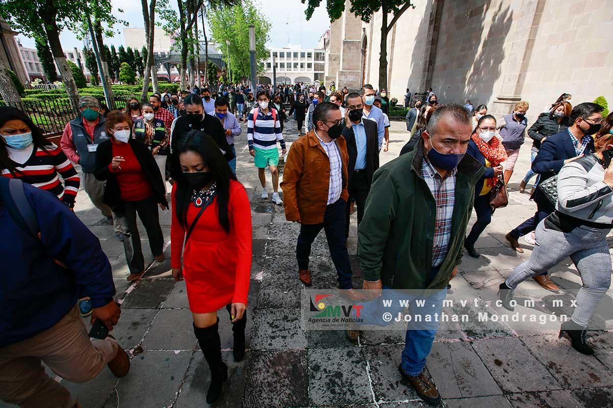 Realizan Simulacro Nacional en el centro de Toluca