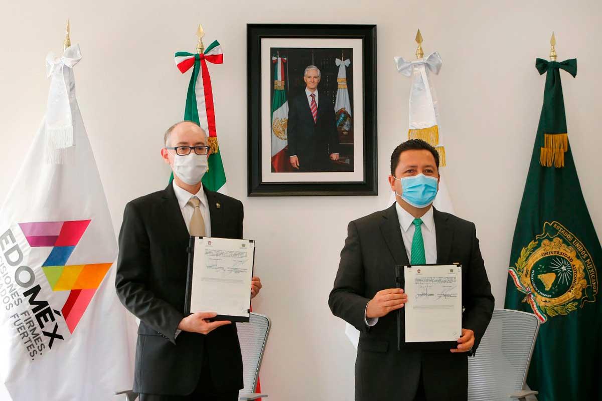 """Firman convenio GEM- UAEM; """"brindaremos mayores oportunidades a las juventudes"""": Carlos Eduardo Barrera"""