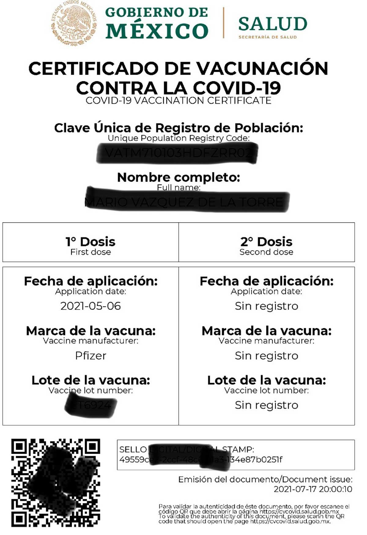 Certificado de vacunación contra Covid19 emitido por el Gobierno de México