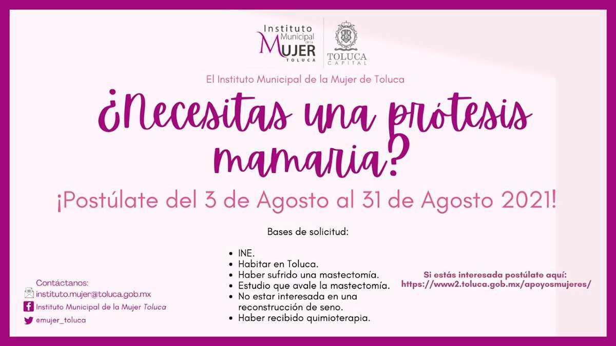 Apoyará Toluca con prótesis a quienes hayan enfrentado cáncer de mama