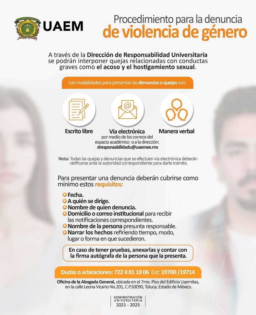Dispone UAEM de procedimiento para la denuncia de violencia de género