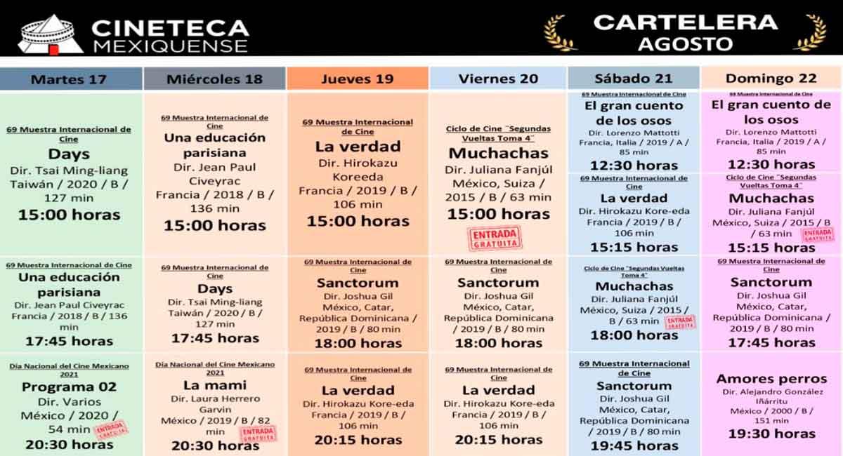 cineteca mexiquense cartelera de la semana