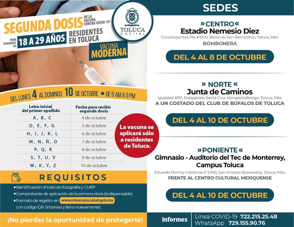 Aplicarán segunda dosis de vacuna a jóvenes de 18 a 29 años en Toluca