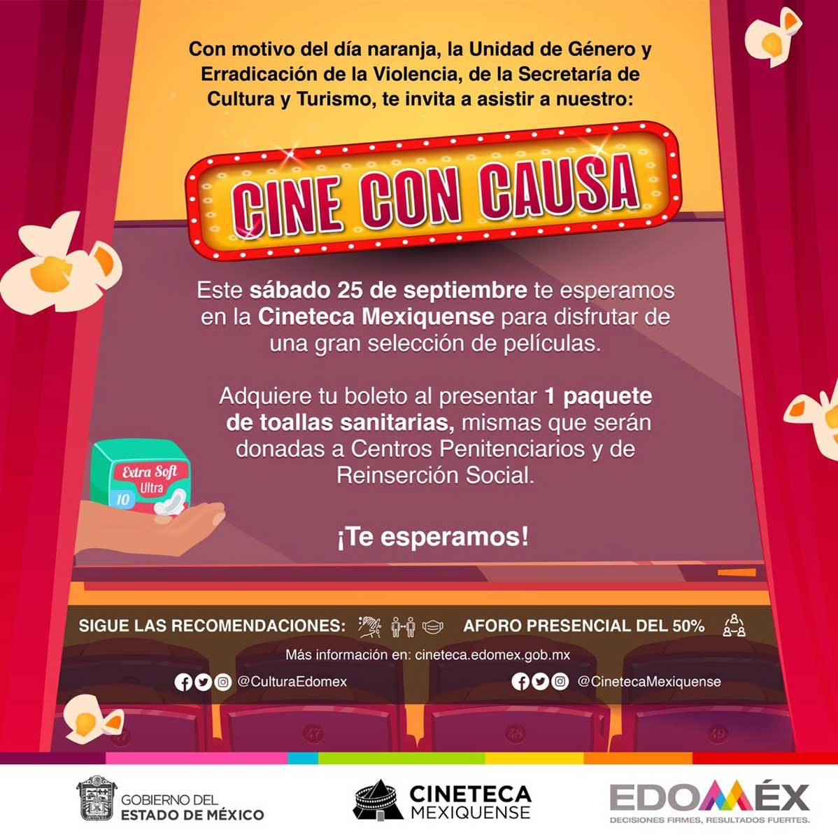 """Participa en """"Cine con Causa"""", invita la Secretaría de Cultura y Turismo"""