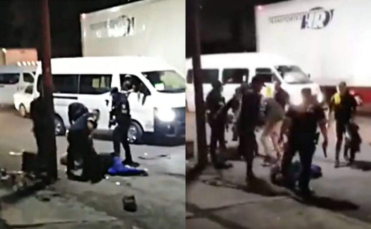 Pasajeros golpean a presuntos asaltantes en transporte del Edomex