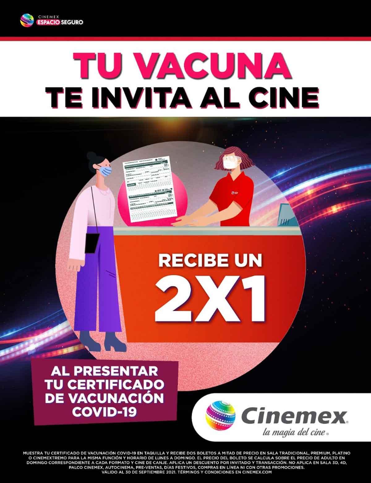 Cine de Toluca otorga 2x1 con tu certificado de vacunación
