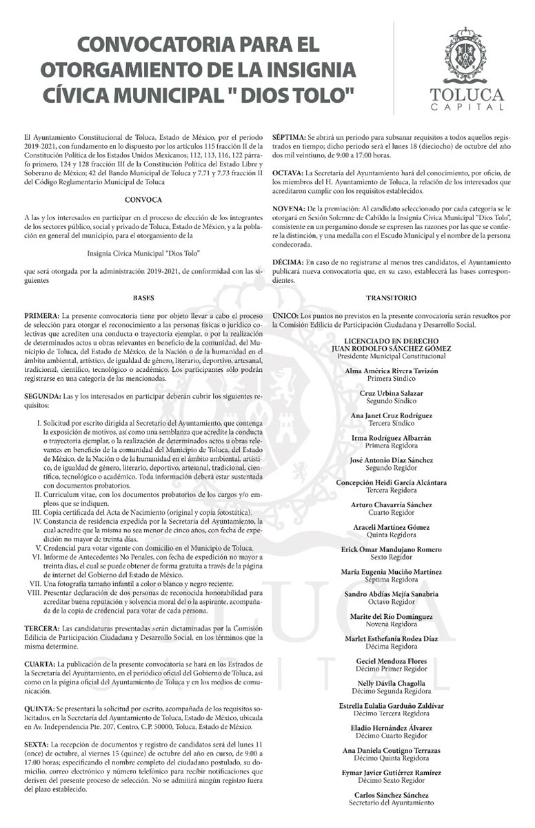 "Abre Toluca convocatoria para otorgar Insignia Cívica Municipal ""Dios Tolo"""