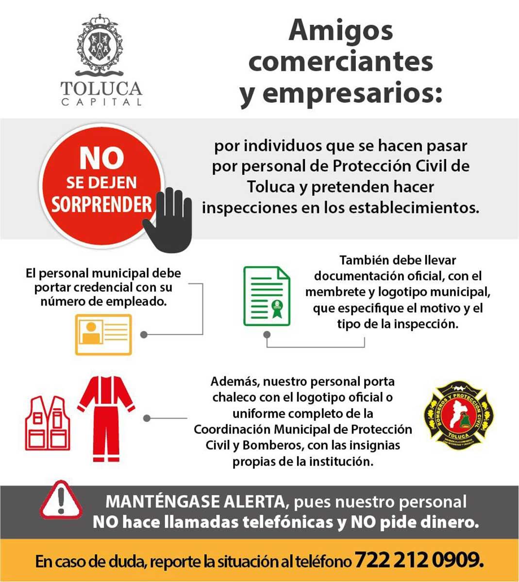 Alerta Protección Civil de Toluca sobre bomberos pirata