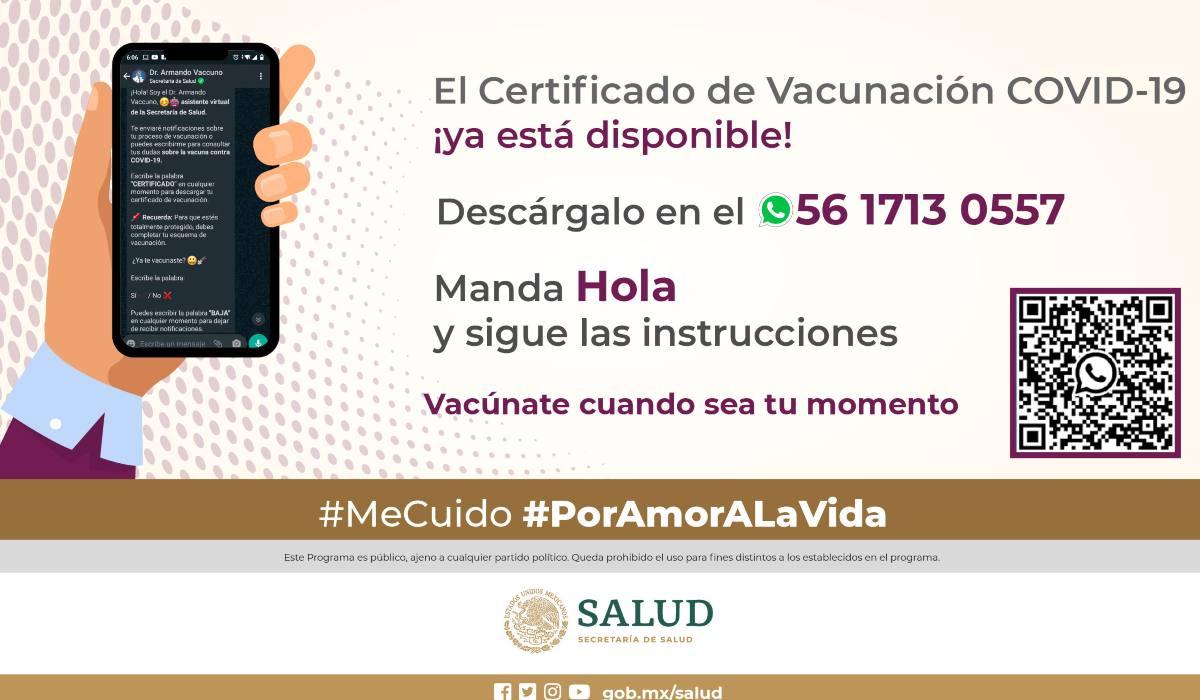 Así puedes sacar tu certificado de vacunación COVID-19 vía WhatsApp